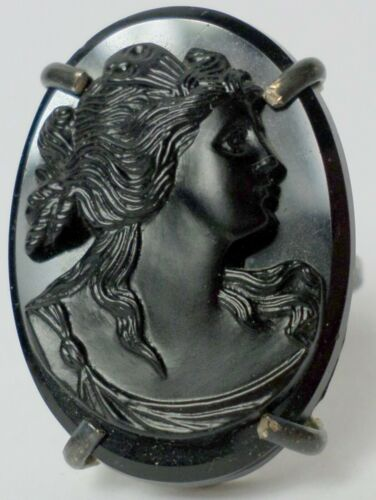 30x22mm Large Whitby Jet Mourning Right Facing Victorian Woman Cameo Silver Ring