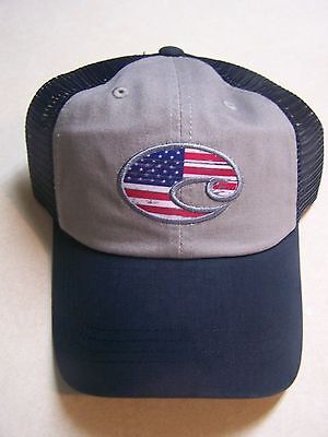 COSTA DEL MAR SUNGLASS United Trucker Hat Adjustable Embroidered Flag Cap NEW