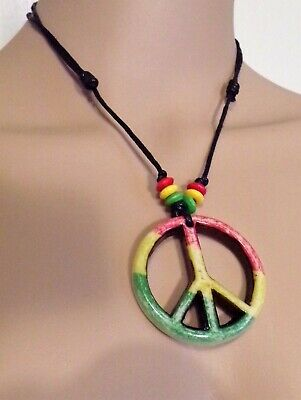 Adjustable Rasta Peace Sign Necklace With Red, Green And Yellow - Red Bead Necklaces