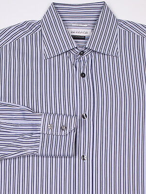 * VERSACE COLLECTION * Light Purple/Black Striped Cotton Dress Shirt (41) 16-35