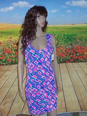 Uv Glow Dresses (Large UV Glow Neon UV Glow Geometric Tank Style Bodycon Dress Fun Sexy Clubwear)