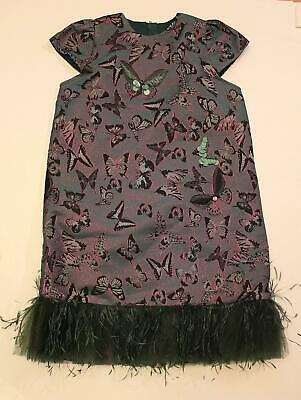 Le Mu Girl's Butterfly-Print Brocade Feather Dress MC7 Emerald Size 9-10Y NWT