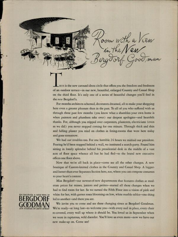 1956 Bergdorf Goodman Carousel Dress Vintage Print Ad 2746