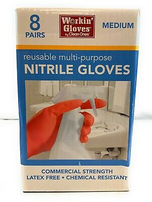 8 Pairs Workin Gloves By Clean Ones Multi-purpose Reusable Nitrile Gloves Medium
