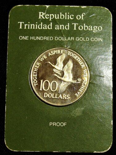 Trinidad & Tobago 1976-FM Gold Proof $100 KM-37. Original Issue Holder.