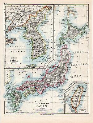 Map Korea Japan Corea Formosa Islands W & AK Johnston 1902 Original Antique