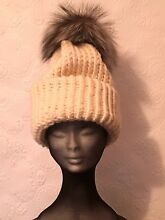 Hand Knitted Australian Wool Beannie With Giant Fox Fur Pomp Pomp West Melbourne Melbourne City Preview