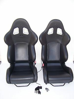 GENUINE FERRARI LARGE 360 CARBON FIBER RACING SEATS! ORIGINAL FULL BLACK LEATHER