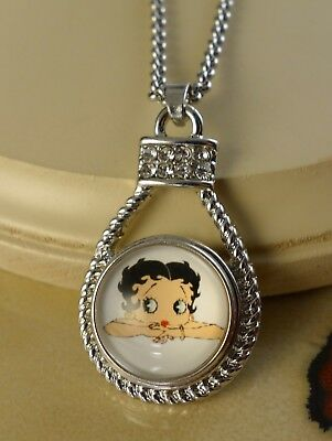 BETTY BOOP Snap drop pendant silver necklace jewelry gifts for women  ()