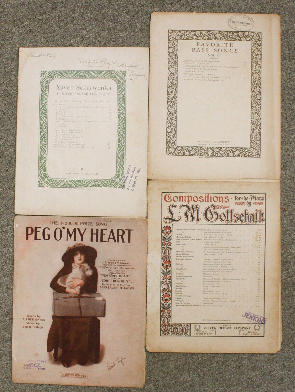 Xaver Scharwenka Boston Pego My Heart Gottschalk Piano Sheet Music Mixed Lot - $14.95