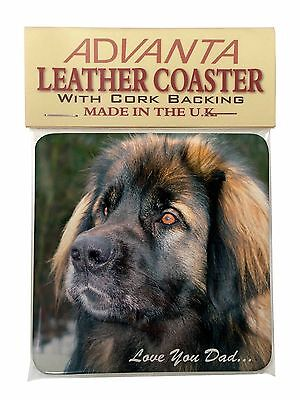 Leonberger Dog 'Love You Dad' Single Leather Photo Coaster Animal Bree, DAD-68SC
