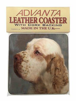 Clumber Spaniel Dog Single Leather Photo Coaster Animal Breed Gift, AD-CS1SC
