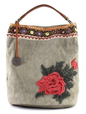 Canvas Leder Hobo Bag (SURI FREY Tammy Hobo Bag L Schultertasche Umhängetasche Tasche Grey Grün Neu)