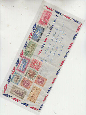 WESTERN SAMOA VIA AIR MAIL APIA 1 AUG 1952 AIR MAIL BORDER 11 STAMPS TO USA L.A.