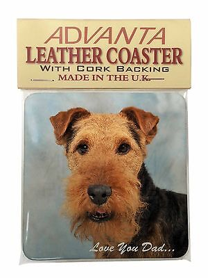 Welsh Terrier Dog 'Love You Dad' Single Leather Photo Coaster Animal , DAD-136SC