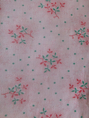 Vintage French  Small Scale Pink Green Sprig Floral Dot Pilou Cotton Fabric ~