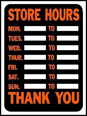 Store Hours Window Door Plastic Sign 12x9 Open Closed Blank Business Hy-ko 3030