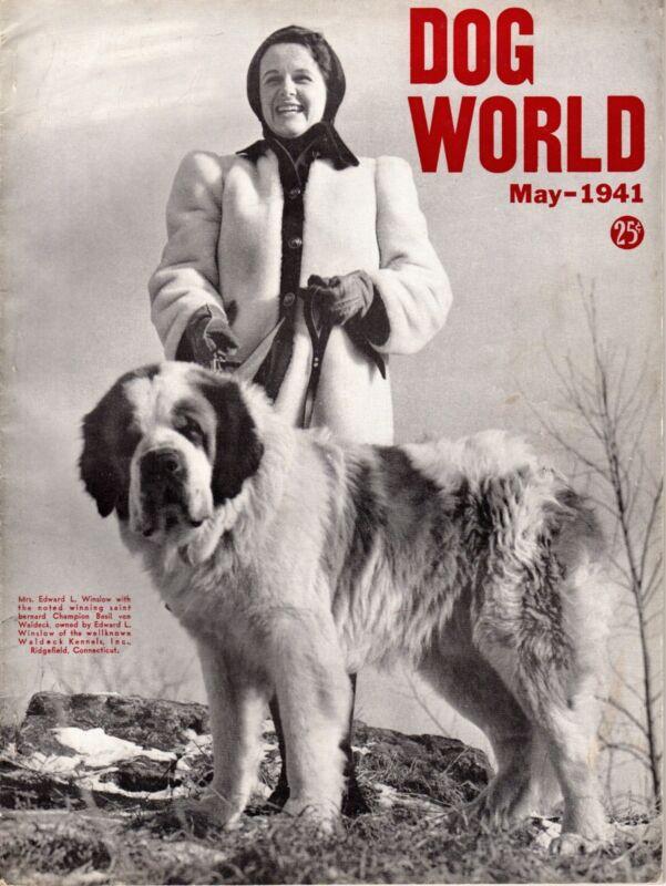 Vintage Dog World Magazine May 1941 Saint Bernard Cover