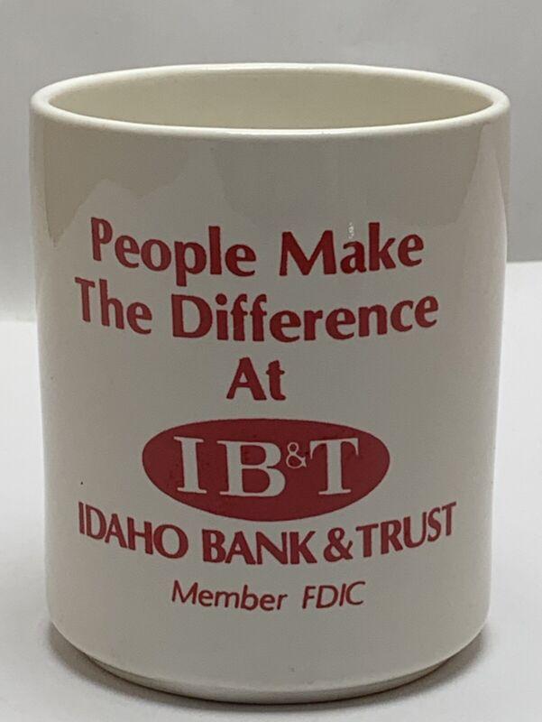 Idaho Bank & Trust Company IB&T Blackfoot Burley Pocatello Porcelain Pen Cup