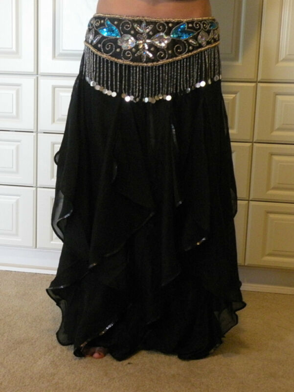 BLACK ENDLESS WAVE HAREM PANTS, CHIFFON & SEQUINS for BELLY DANCE, From  INDIA