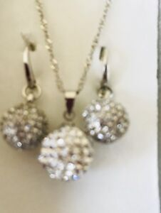 Sterling Silver with Crystal Necklace and Earrings Set