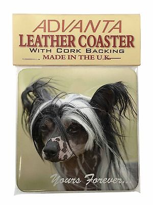 """Chinese Crested Dog """"Yours Forever..."""" Single Leather Photo Coaster , AD-CHC2ySC"""