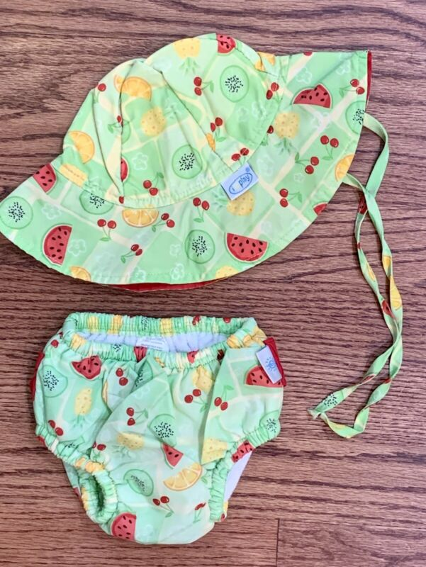 iPlayInfant Girls Sz 12m Swim Diaper & Sun Hat Green Fruit Ruffle Bum UPF 50+