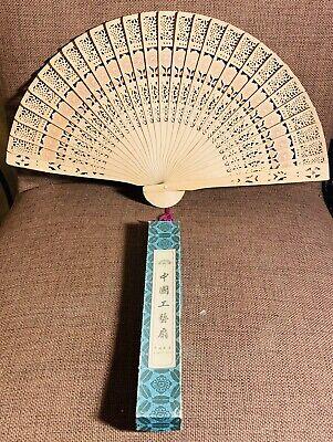 Original Vintage Chinese Pierced Wooden Hand Fan - Decorated Original Box