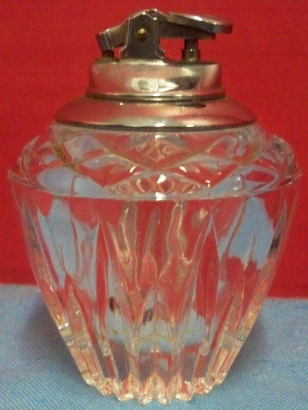 "Crystal Cut Glass Clear Table Model Cigarette Lighter Needs Flint & Fluid 4 1/2"""