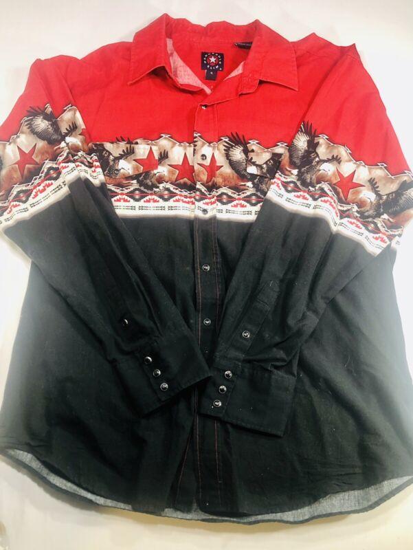 Panhandle Slim Men's XL Black Pearl Button Western Rodeo Aztec Long Sleeve Shirt
