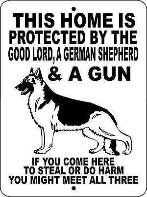 German Shepherd Dog Sign No Trespassing Warning Gate Vinyl Aluminum Glgsgun