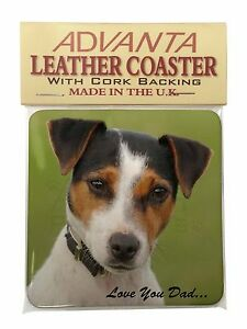 Jack Russell 'Love You Dad' Single Leather Photo Coaster Animal Breed , DAD-60SC