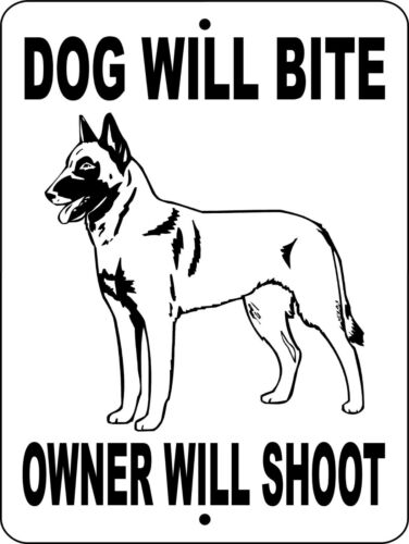 Belgian malinois dog will bite aluminum sign 9 x 12