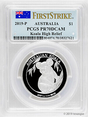2019 Australia Silver $1 Koala High Relief 1 oz Coin PCGSPR70 - First Strike
