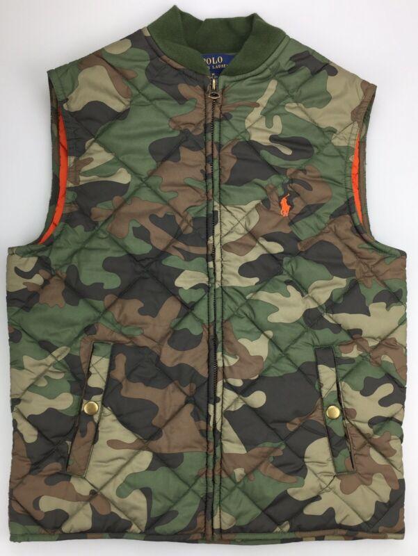 Boy MEDIUM 10-12 Ralph Lauren Polo Camo Camouflage Orange Diamond Quilt Zip Vest