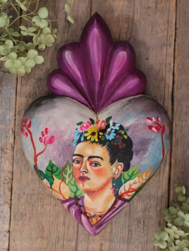 Heart Shape Frida Kahlo Portrait Hand Painted Carved Michoacan Mexican Folk Art