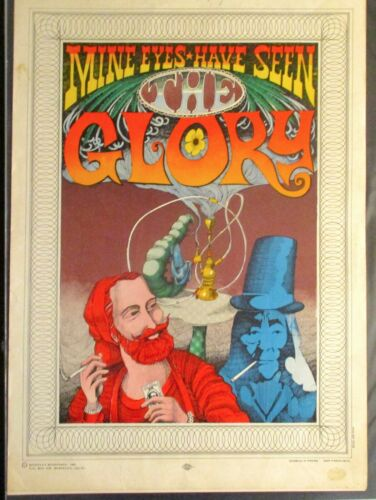 "ORIG. 1967 POSTER ""MINE EYES HAVE SEEN GLORY"" RICK GRIFFIN union ZIG ZAG psych"