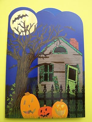 Halloween Ghosts For Kids (NEW! Unused Vtg  HAPPY HALLOWEEN Greeting Card w/ 3D POP-UP GHOSTS Cute for)