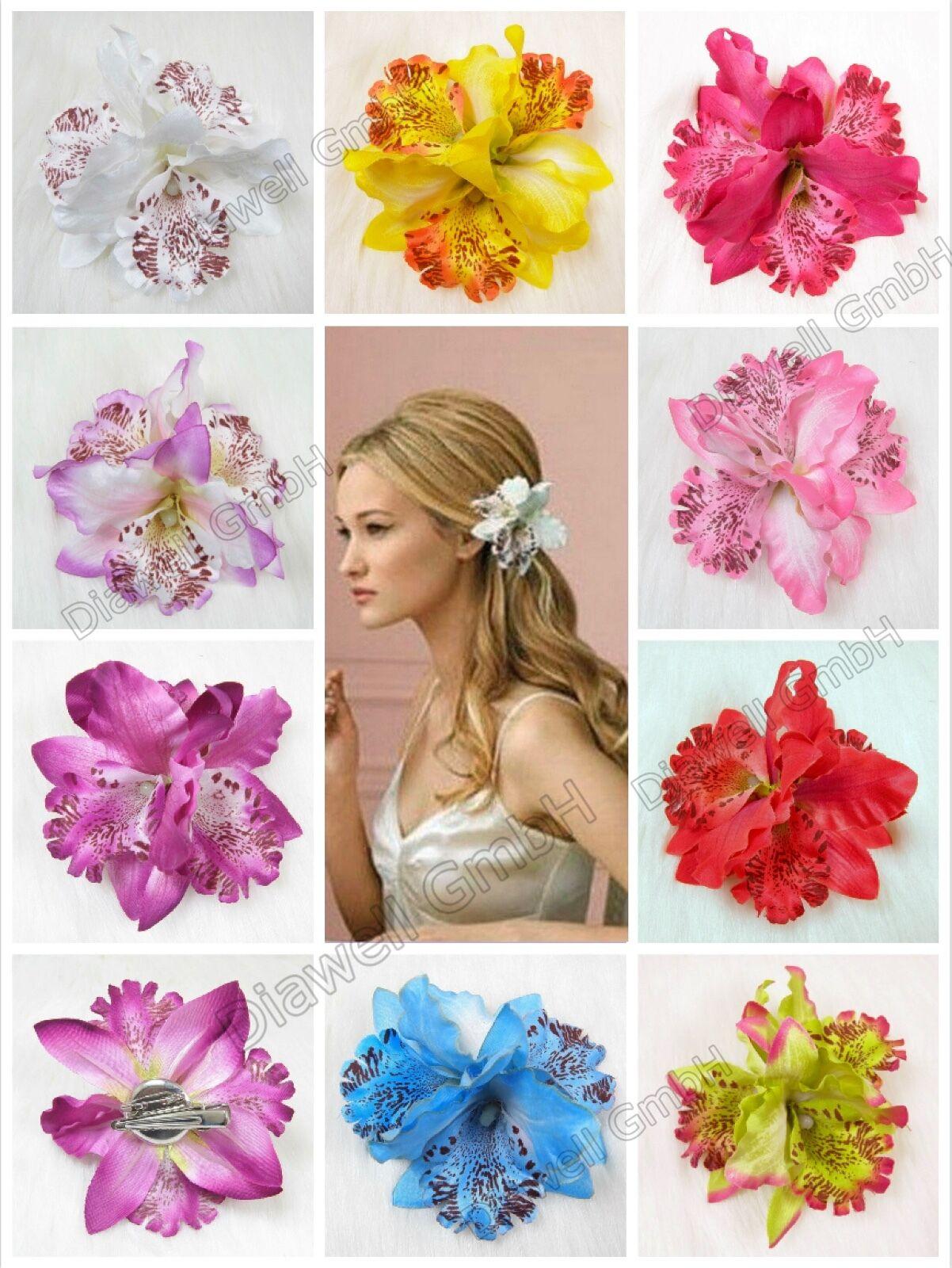 3x Orchidee Haarblume Haarclip Haarspange Blume Blüte Ansteckblume Haarschmuck