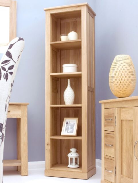 Mobel solid oak furniture tall narrow office bookcase