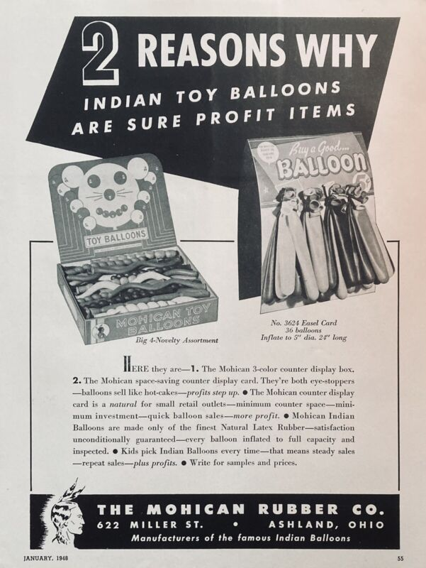 1948 AD(L13)~MOHICAN RUBBER CO. ASHLAND, OHIO. MOHICAN TOY NOVELTY BALLOONS