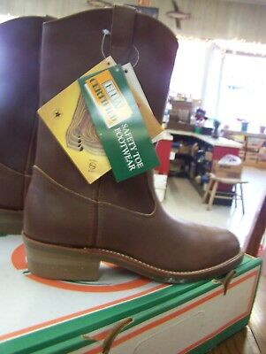 STEEL Toe Leather Wellington Western Double H Brand Boot Multiple sizes (Double H Wellington)