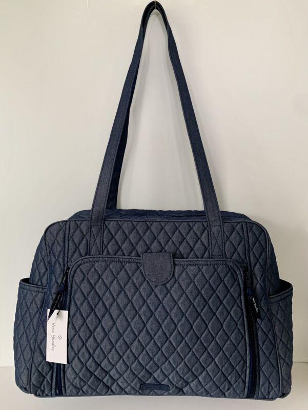 NWT Vera Bradley Baby Bag Diaper with Changing Pad in Moonlight Navy Denim $179