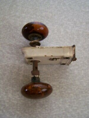 ANTIQUE VINTAGE BENNINGTON BROWN SWIRL PORCELAIN DOOR KNOB RIM SURFACE LOCK SET