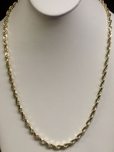 "10k Solid Yellow Gold Rope Chain Necklace 28"" 6 Mm 60 Grams"