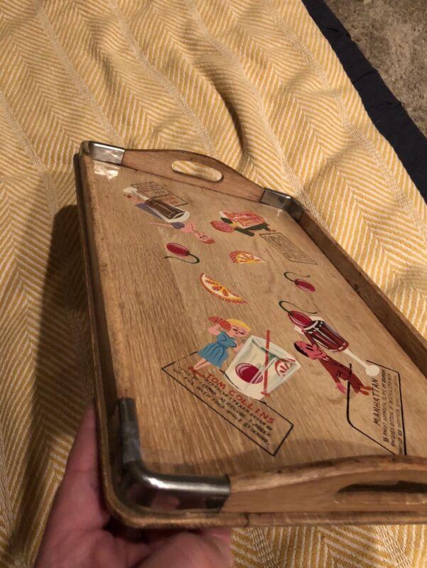 Vintage Hand Painted Wood Bar Tray Mid Century MCM