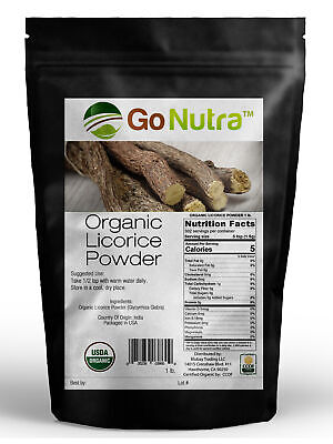 Licorice Root Powder Organic Certified 1 lb. (16 oz) Glycyrrhiza -