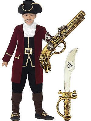 Smiffys Deluxe Pirate Captain Hook Boys Kids Fancy Dress Costume + Sword + Gun - Deluxe Captain Hook Costume