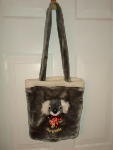 Australia Koala Bear Head Plush Stuffed Animal Souvenir Shoulder Bag Purse Gray