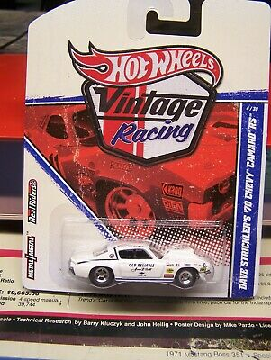 "Hot Wheels 1/64 scale  Vintage Racing  1970 Camaro RS  Dave Strickler ""Old Relia"